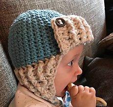 Detské čiapky - čiapka detská hačkovaná ...modro - biela - 10051732_