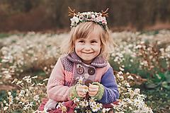 Ozdoby do vlasov - Nežná kvetinová čelenka s parožkami Halloween - 10053133_