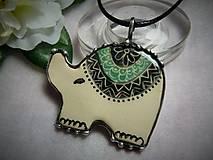 Náhrdelníky - keramika ..sloník.. - 10049023_