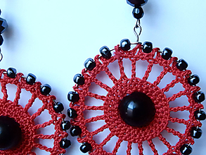 Náušnice - Červeno čierne kruhy - 10051099_