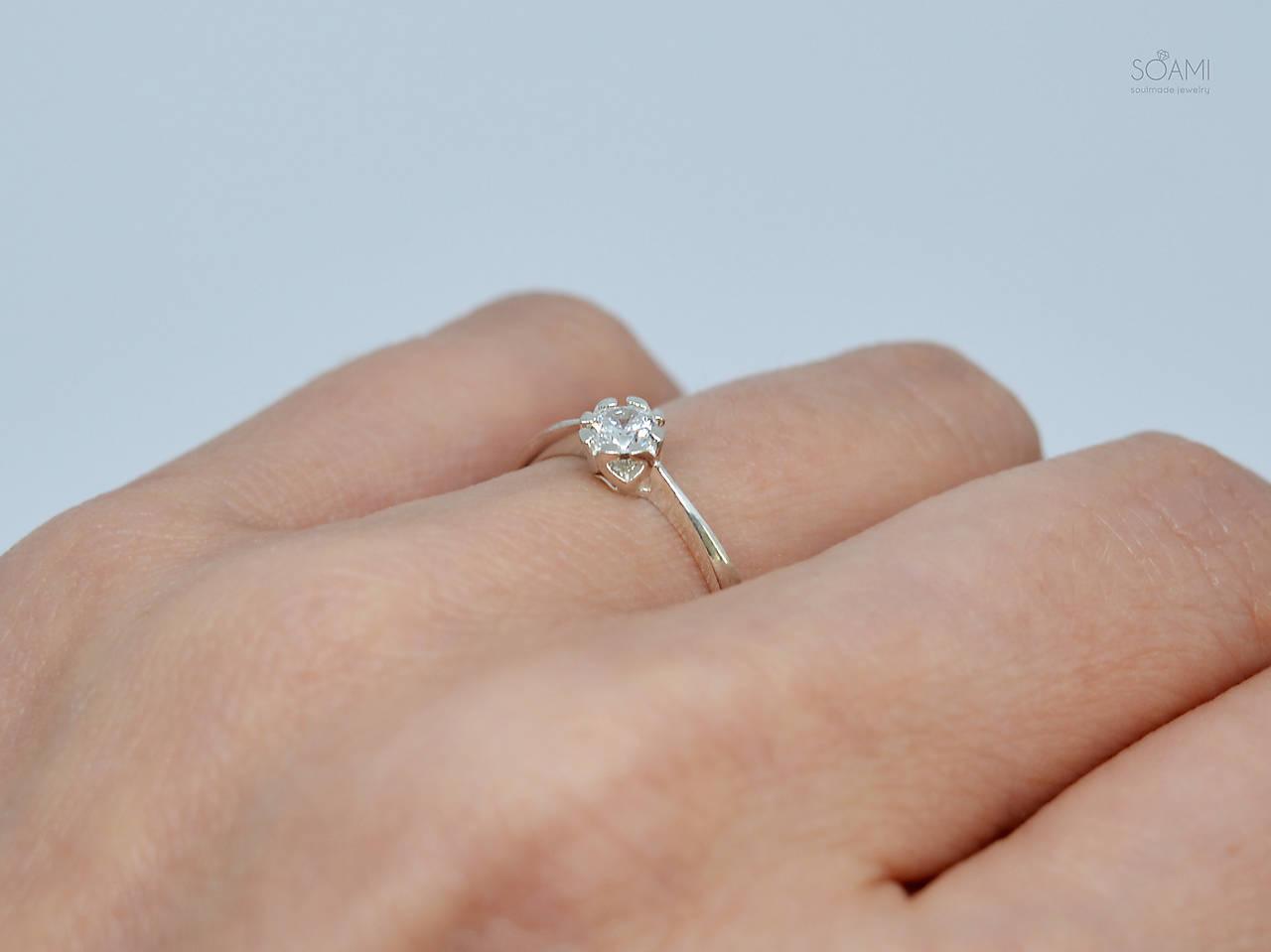 925/1000 Strieborný prsteň zásnubný s prírodným diamantom 3,5mm