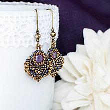 Náušnice - šité náušnice  ALADINOVA CESTA MINI (purple/bronz) - 10054979_