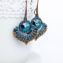 Náušnice - šité náušnice ALADINOVA CESTA (Modrá) - 10055258_