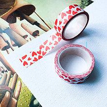 Papier - dekoračná papierová páska Červené srdiečka - 10054267_
