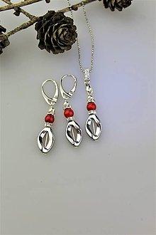 Sady šperkov - hematit a koral náušnice a prívesok - 10056961_
