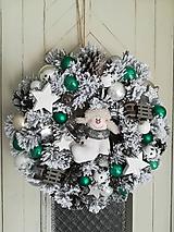 Dekorácie - Vianočný veniec so snehuliakom - 10057280_