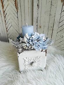 Dekorácie - Vianočná vintage dekorácia v šuflíku bledučkomodrá - 10053605_
