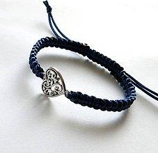 Náramky - S filigránovým srdiečkom (modrá tmavá) - 10056758_