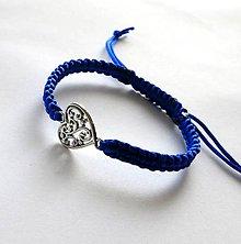 Náramky - S filigránovým srdiečkom (modrá) - 10056759_