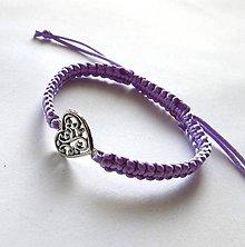 Náramky - S filigránovým srdiečkom (fialová svetlá) - 10056774_