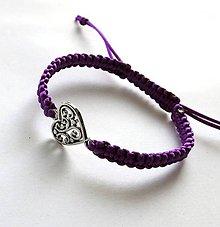 Náramky - S filigránovým srdiečkom (fialová tmavá) - 10056780_