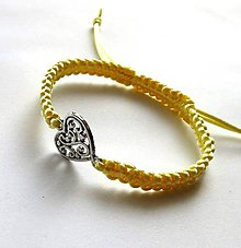 Náramky - S filigránovým srdiečkom (žltá svetlá) - 10056800_