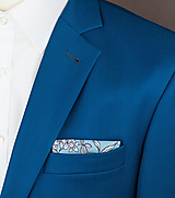 Doplnky - Pánska vreckovka do saka modrá s kvetmi - 10053811_