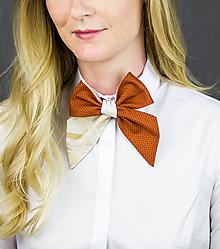Šatky - Dámská kravata/mašla obojstranná (oranžová/béžová) - 10054924_