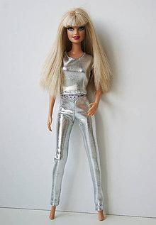 Hračky - Strieborné legíny pre Barbie - 10057553_