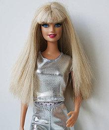 Hračky - Strieborné tričko pre Barbie - 10057586_
