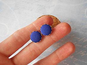 Náušnice - Modré buttonky - 10056180_