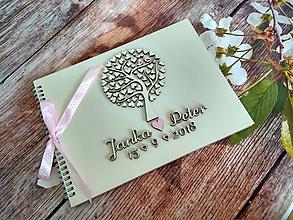 Papiernictvo - Svadobná kniha hostí - motív strom - 10057207_