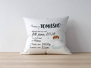 Textil - Detský vankúšik k narodeniu - modrý anjelik - 10055999_
