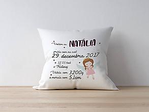 Textil - Detský vankúšik k narodeniu - ružový anjelik - 10056024_