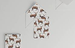 Papiernictvo - Akvarelová pohľadnica   ilustrácia Jeleňa a líšky - 10057143_