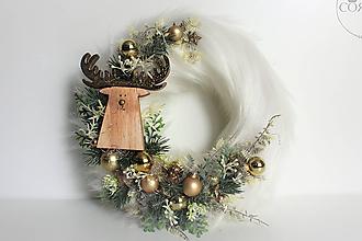 """Dekorácie - Vianocný kožušinový veniec  - """"GOLD"""" - 10057640_"""
