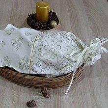 Úžitkový textil - Zlaté srdiečka a ornamenty na smotanovej - vrecko na chlieb 25x45 - 10053923_