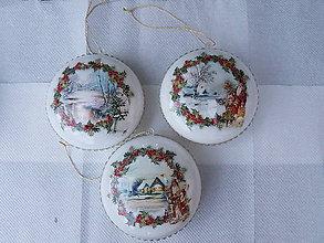 Dekorácie - Medailóny White Christmas I. - sada - 10056324_