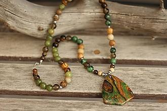 Náhrdelníky - Náhrdelník s minerálmi jaspis, záhneda, tygrie oko, zoisit - 10056669_