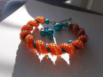Náramky - Oranžovo - Tyrkysový - 10057692_