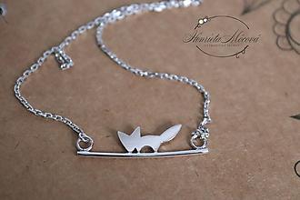 Náhrdelníky - strieborný náhrdelník CUTE WILDNESS  (LÍŠKA rhodiovaná) - 10054092_