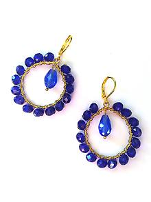Náušnice - Venčekové kruhy (kráľovsky modrá) - 10054747_