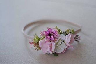 Ozdoby do vlasov - Čelenka kvetinová ružovo biela - 10061967_