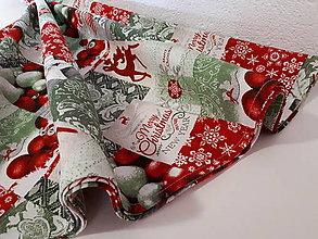 Úžitkový textil - Okruhly obrus  (Vianočný Merry Christmas) - 10057947_