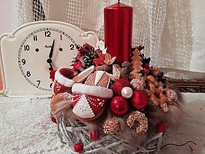 Dekorácie - Vianočná dekorácia medovníkove papučky - 10061618_