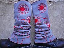 Iné doplnky - Návleky na nohy-šedé s červenou - 10059726_