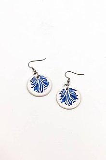 Náušnice - Náušnice s modrým dekorom - 10058968_