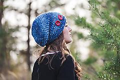 Čiapky - Čiapka modrá melírovaná - 10057991_