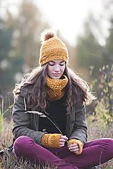 Čiapky - Horčicovo-medený set čiapka+nákrčník+rukavice - 10057997_