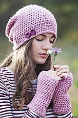 Ružová čiapka + rukavice / set