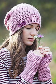 Čiapky - Ružová čiapka + rukavice / set - 10058957_