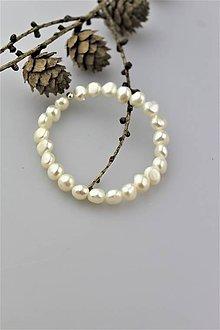 Náramky - pravé biele perly náramok AKCIA! - 10060985_