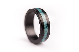 Prstene - Drevený prsteň Eben & Tyrkys - 10058858_