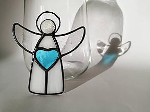 Dekorácie - Anjelíci so srdiečkom 2 (Modrá) - 10059002_