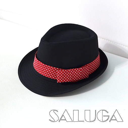 Čierny klobúk - retro červený na biele bodky