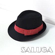 Čiapky - Čierny klobúk - retro červený na biele bodky - 10058477_