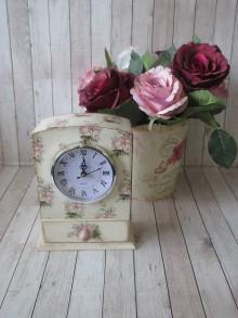 Hodiny - Hodiny vintage RUŽE - 10061671_
