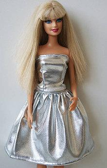Hračky - Strieborná sukňa pre Barbie - 10061938_