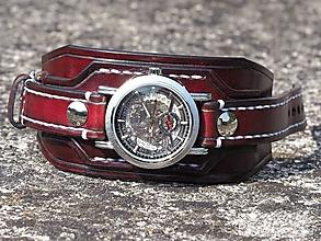 Šperky - Mahagónový kožený remienok na hodinky - 10061304_