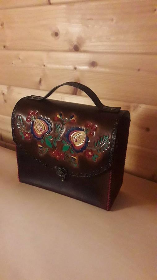 Kožená kabelka - Slovenský ľudový motív